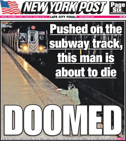 """Naslovnica """"N.Y. Post""""-a koja je izazvala buru"""