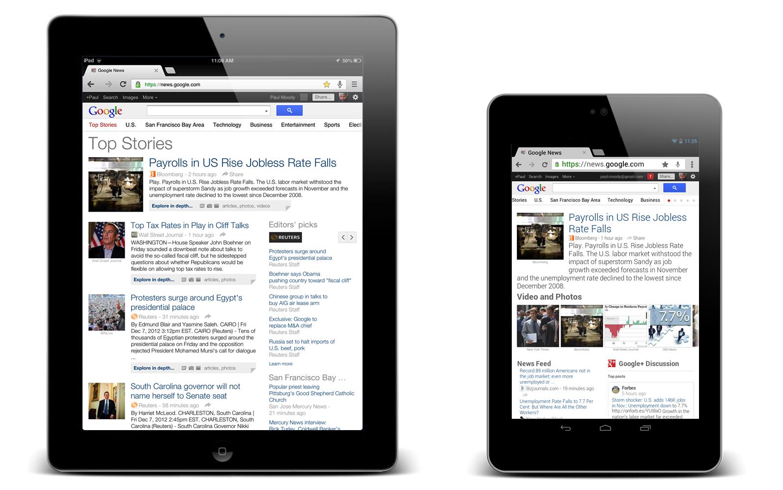 Google News u verziji za tablet računare