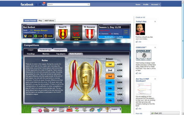 Football manager za Facebook