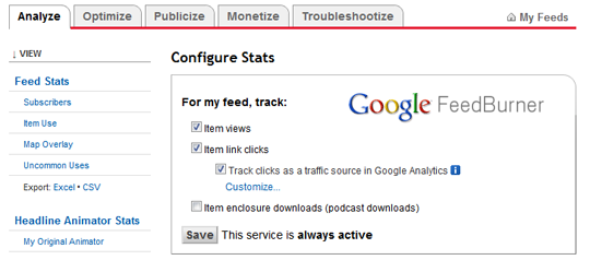 Google Analytics prati i RSS feed klikove