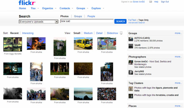 Flickr interfejs promene