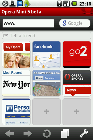 Opera Mini 5 beta na Androidu