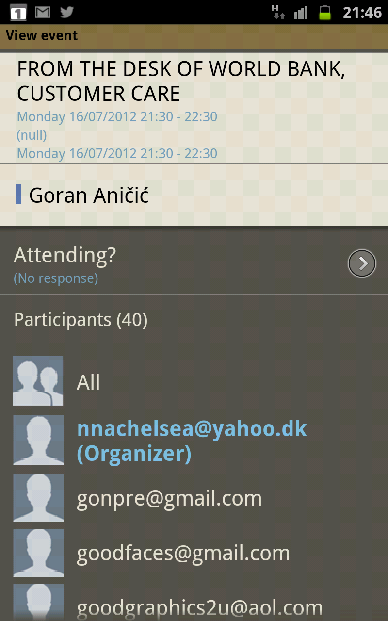 Google Calendar invitation spam