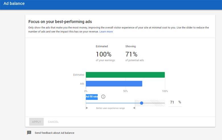 Google AdSense - Ad balance